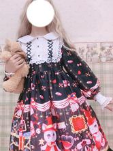 Sweet Lolita OP Dress Printed Light Brown Black Lace Up Lolita One Piece Dresses
