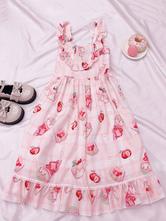 Sweet Lolita JSK Dress Volantes estampados Pink Lolita Jumper Faldas