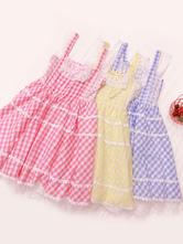 Sweet Lolita JSK Dress Plaid Bows And Lace Pink Lolita Jumper Skirts