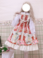 Sweet Lolita JSK Dress Burgundy Sleeveless Ruffles Bows Lolita Jumper Skirts
