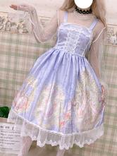 Sweet Lolita JSK Dress Printed Pleated Lace Lilac Lolita Jumper Skirts