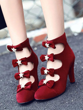 Red Lolita Boots Cut Out Bows Round Toe Monogram Suede Lolita Footwear
