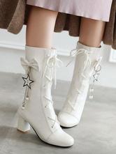 Sweet Lolita Stiefel White Bows Schnürschuhe Round Toe Lolita Footwear