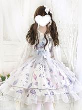 Sweet Lolita JSK Robe Aurelia Imprimé Noeuds Blancs Lolita Pull Jupes