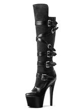 Mulheres Botas Sexy Rodada Toe Zipper Buckle Cone Heel Rave Clube Plataforma Stripper Shoes