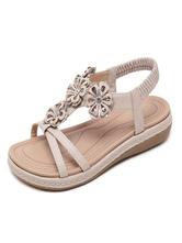 Women Flat Sandals Flowers Sandals Comfy T-Type Bandage Open Toe Sandals