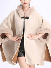 Women Poncho Hooded Ecru White Poncho Oversized Cape