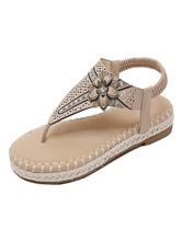 Sandalias planas para mujer Sandalias de playa con punta en tanga