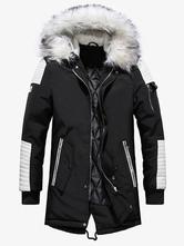 Cappotto invernale da uomo nero casual con cappuccio Parka Daily Casual Warm Outwear