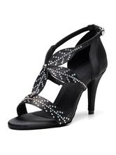 Zapatos de baile latino personalizados para mujer Zapatos de baile de salón de diamantes de imitación negros tipo T