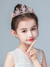 Accessori per capelli per bambina con fiore e copricapo in strass tiara