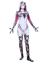 Marvel Comics Gwen Stacy Cosplay White Venom Marvel Film Hooded Jumpsuit