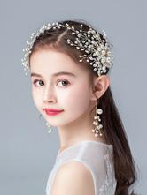 Головной убор Цветочница Блондин Жемчуг Аксессуар Жемчуг Детские аксессуары для волос
