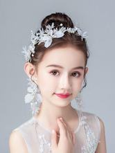 Headpieces de menina de flor Pérolas de marfim Acessório Pérola Acessórios para cabelo de crianças