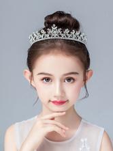 Acessórios de cabelo de metal de pérolas de prata de Headpieces de menina de flor para crianças