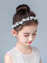 Accessori per capelli per bambina con fiore Accessori di perle in argento perlato Accessori per capelli per bambini