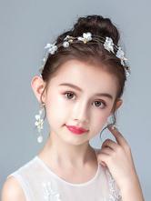 Headpieces de menina de flor Acessórios de pérolas de prata Pérola Acessórios para cabelo de crianças