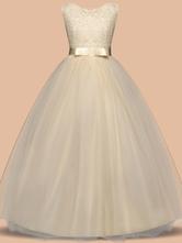 Robes de fille de fleur col rond longueur de plancher avec noeud papillon formelle robe de soirée pour fille