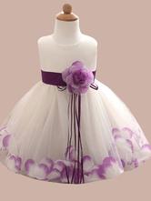 Flower Girl Dresses Flowers Sleeveless Jewel Neck Social Kids Party Dresses