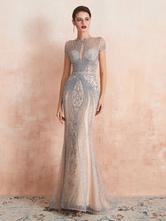 Luxuskleid 2020 Meerjungfrau Juwel Kurzarm Perlen Formelle Abendgesellschaft Kleider