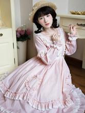 Sweet Lolita OP Dress Ruffles Buttons Pink Long Sleeves Lolita One Piece Dresses