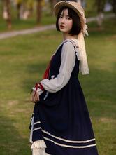 Sweet Lolita OP Dress Lace Ruffles Blue Long Sleeves Lolita One Piece Dresses