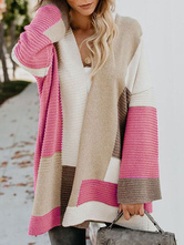 Oversized Sweater Cardigan Color Block Women Knitted Jacket