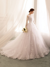 wedding dresses 2021 princess silhouette bateau neck long sleeve natural waist lace tulle bridal gowns