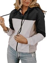 Prendas de vestir exteriores Mujeres Sudaderas con capucha Sudaderas con capucha de manga larga con bloque de color negro