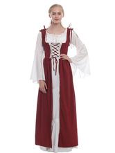 Halloween Kostüm Halloween Mittelalter Kleidung Gelb und Farbblock und Rüschen Barock Kostüm Rokoko Kleid Renaissance Kleidung Viktorianische Königin Kostüm Faschingskostüme