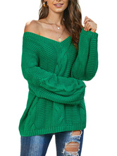 Women Pullovers Casual V Neck Long Sleeves Cotton