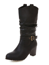 """Womens Mid Calf Boots Round Toe Buckle 2.6"""" Boots"""