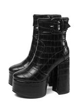 Botines mujer negro de tacón gordo de puntera redonda con hebilla 14cm de Otoño Invierno Cremallera para uso en club Relojes de Moda 2021