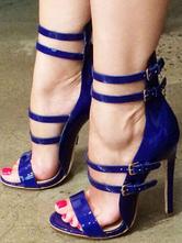 Womens Deep Blue Strappy Heels Open Toe Stiletto Heel Sandals