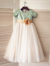 A Line Princess Scoop Tulle Sequin Short Sleeves Tea Length Flower Girl Dresses