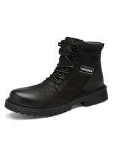 Man's Martin Boots Distressed Leather Combat Booties