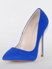 Sapatos de salto alto para mulher Slip-On Toe Pointed Stiletto Heel Blue Royal Bombas básicas para escritório