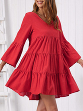 Shift Dress Red Classic Ruffles Long Sleeves V Neck Oversized Burgundy Casual Dress