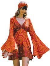Vestido Boho V Neck mangas compridas Floral Print Beach Dress