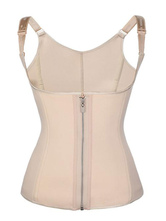 Corpetes Corpetes Lingerie Mulheres Bustier Nude Casual Zipper Square Neck Sleeveless