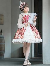 Robe classique JSK Lolita Talia Story en jacquard avec nœud ouvert sur le devant bordeaux Milanoo Exclusive Lolita Jumper Jupes