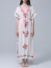 Vestido branco maxi boho bordado v pescoço rendas até mangas curtas vestido de praia de grandes dimensões