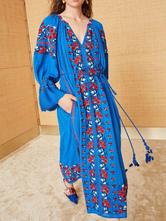 Платье макси Boho с вышивкой и V-образным вырезом с длинными рукавами