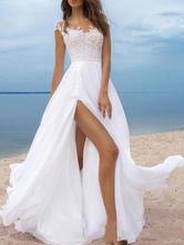 Vestidos De Noiva Boho 2021 Chiffon Decote Em V Mangas Curtas Linha A Frente Dividida Vestidos De Noiva Para Casamento Na Praia