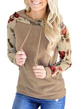 Women Hoodies Long Sleeves Floral Printed Pockets Hooded Sweatshirt