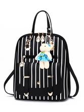 Lolita doce saco preto PU couro mochila Lolita acessórios