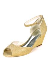 Womens Wedge Heels Party Schuhe Blond Peep Toe Abendschuhe