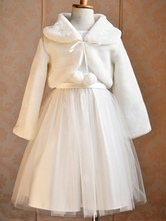 Flower Girl Wraps Ecru White Lace Up Long Sleeves Jewel Neck Faux Fur Flower Girl Accessories