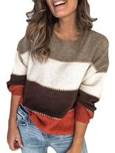 Suéter de los suéteres de las mujeres del bloque del color de manga larga cuello de la joya Jumper Prendas de punto