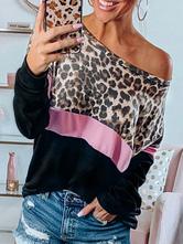 Толстовка с длинными рукавами и длинными рукавами с леопардовым принтом Woman Oversize